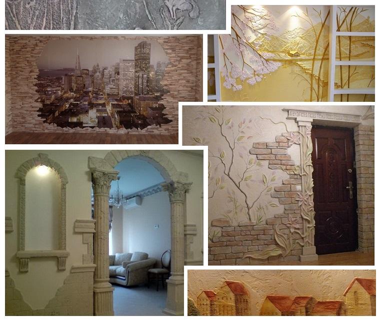 Способы декоративного оформления стен в помещении