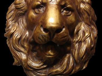 Услуги скульптора в Киеве. Настенная скульптура, голова льва (гипс тонированный под бронзу), творческая мастерская Круг