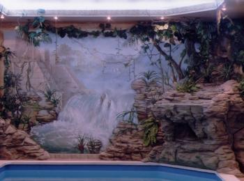 Наша работа: роспись стен в в бассейне (стиль — джунгли), творческая мастерская Круг