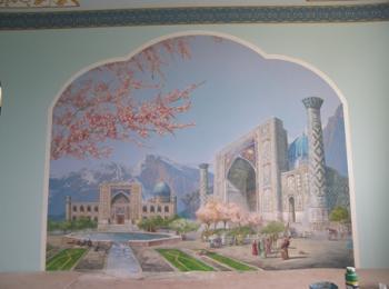 Роспись стены в комнате отдыха (восточный мотив), гостиница в Киеве