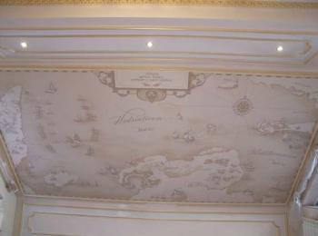 Роспись стены (старинная карта) в Киеве