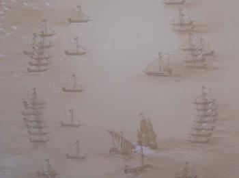 Фрагмент росписи стены (старинная карта, боевое построение кораблей в морском бою), Киев