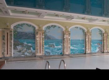 Роспись стен в бассейне (морской пейзаж)