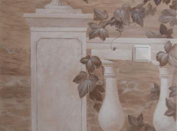 Художественная роспись стены, выполненная в монохроме. Киев, мастерская Круг