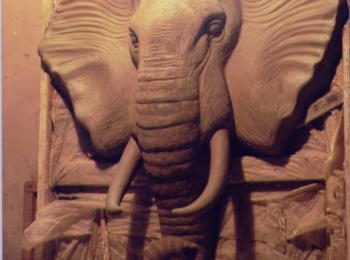 Лепка на стене: голова слона. Услуги скульптора в Киеве